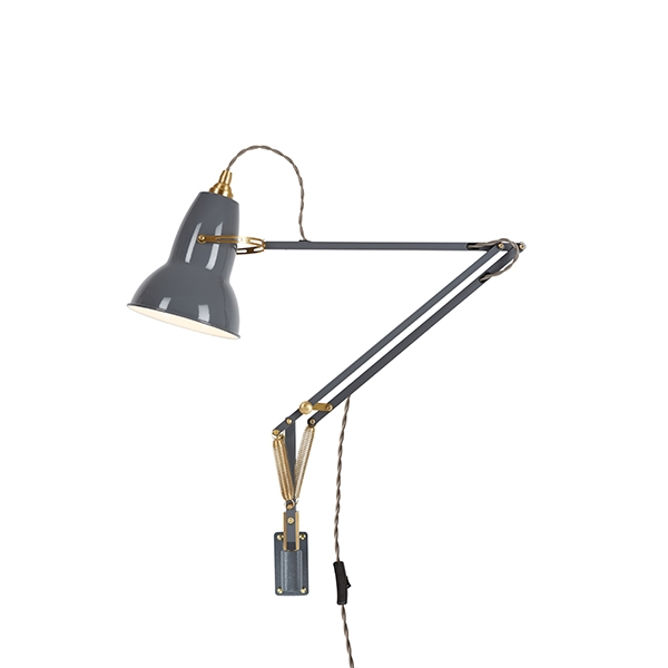 Image of Anglepoise Original 1227 Messing Lampe M. Vægbeslag Elephant Grey