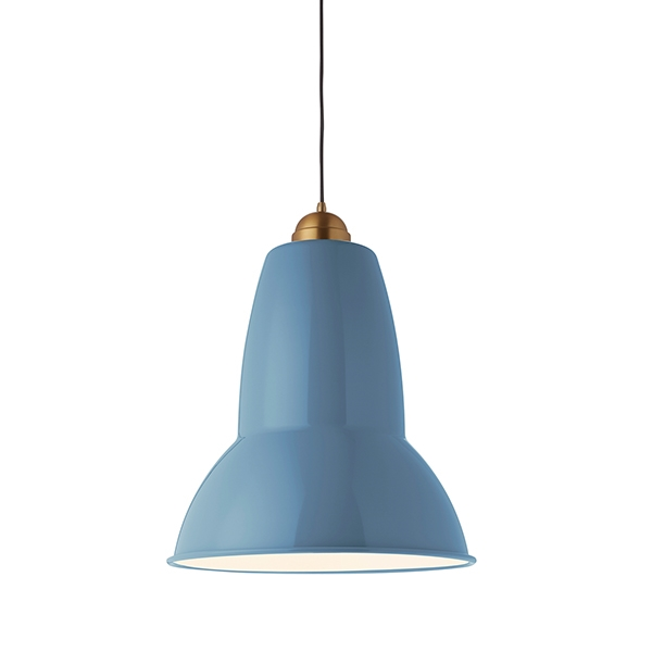 Anglepoise Original 1227 Giant Messing Pendel Dusty Blue with grey Cable Braid fra Anglepoise