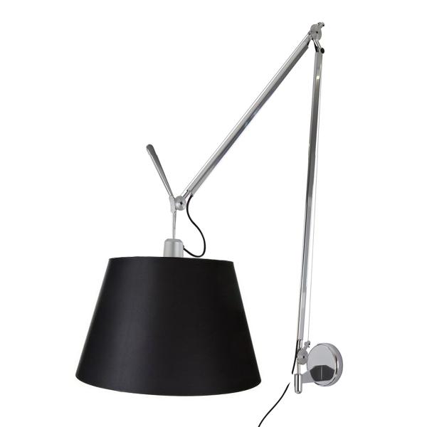 Artemide Tolomeo Mega Væglampe Sort Skærm 42cm m. Lysdæmper