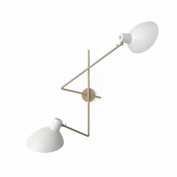 Astep VV Cinquanta Væglampe Twin Messing/Hvid