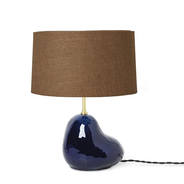 Billede af Ferm Living Hebe Bordlampe Lille Mørkeblå M. Brun Skærm