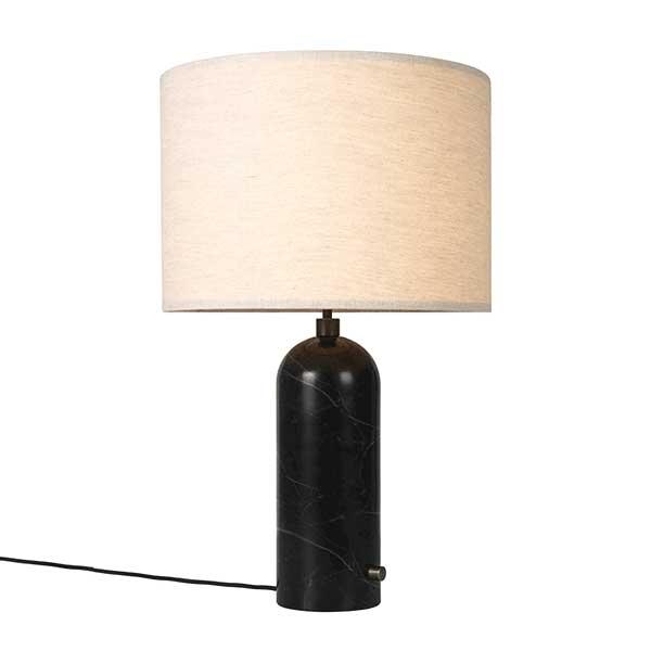 Billede af GUBI Gravity Bordlampe Sort Marmor og Lærred Skærm Stor