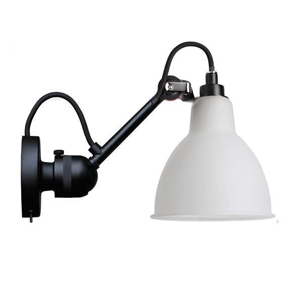 Lampe Gras N304 Væglampe Mat Sort & Opal Glas Med Tænd/Sluk
