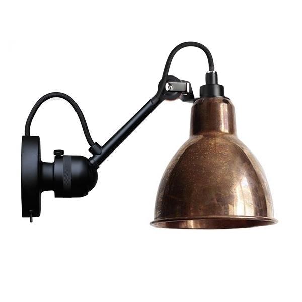 Lampe Gras N304 Væglampe Mat Sort & Rå Kobber Med Tænd/Sluk