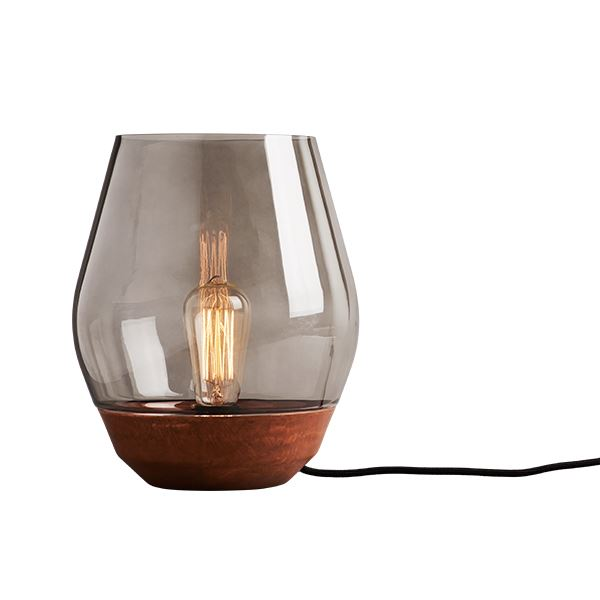 NEW WORKS Bowl Bordlampe Rå Kobber m. Røget Glas Skærm