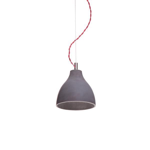 decode Heavy Light Pendel H2 Mørk Beton med Rød Stofledning