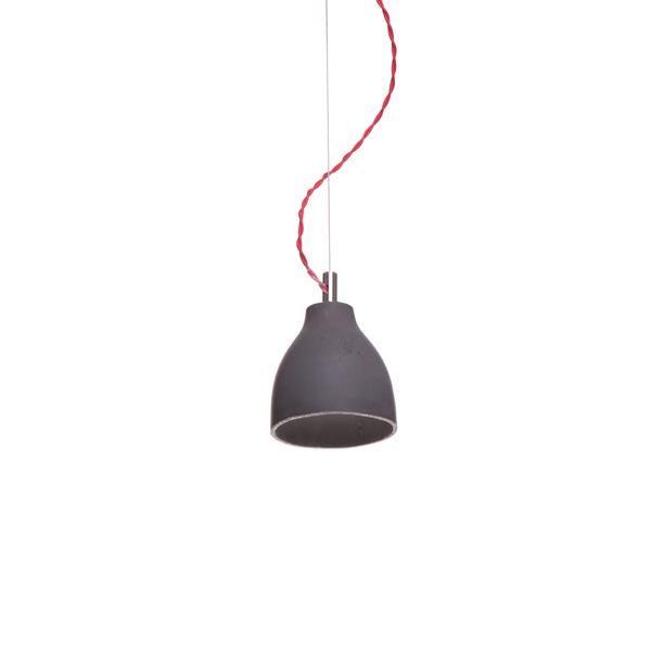 decode Heavy Light Pendel H3 Mørk Beton med Rød Stofledning