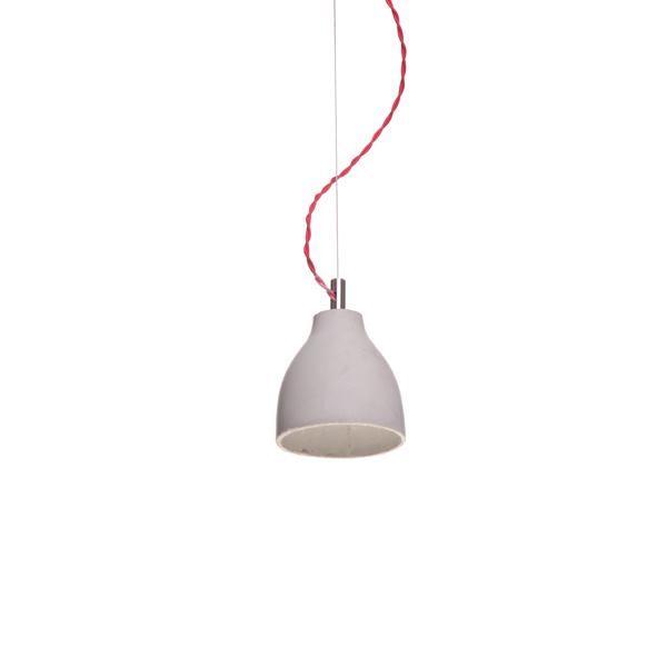 decode Heavy Light Pendel H3 Grå Beton med Rød Stofledning