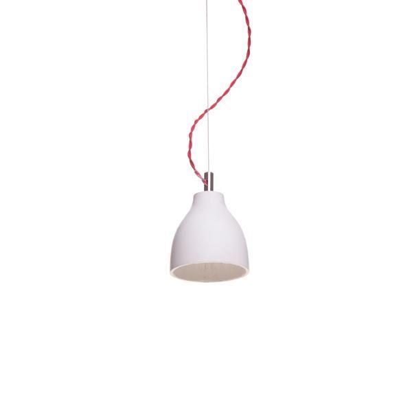 decode Heavy Light Pendel H3 Hvid Beton med Rød Stofledning