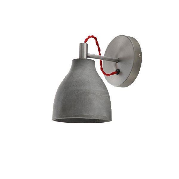 decode Heavy Wall Light Væglampe Mørk Beton med Hvid Stofledning