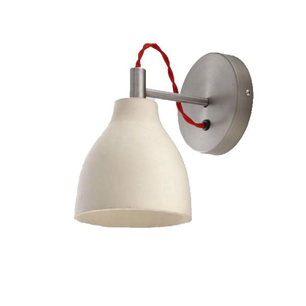 decode Heavy Wall Light Væglampe Hvid Beton med Rød Stofledning
