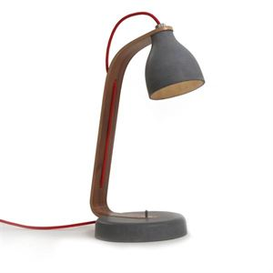 decode Heavy Desk Light Bordlampe Mørk Beton med Valnød