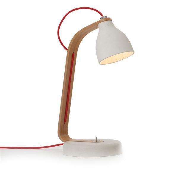decode Heavy Desk Light Bordlampe Lys Grå Beton med Egetræ fra decode