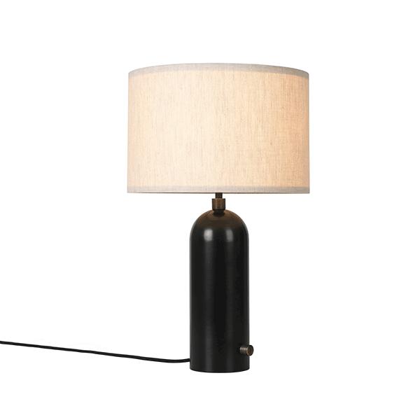 Image of GUBI Gravity Bordlampe Mørknet Stål og Lærred Skærm Lille