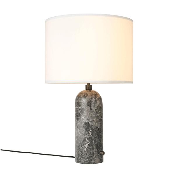 GUBI Gravity Bordlampe Grå Marmor og Hvid Skærm Stor