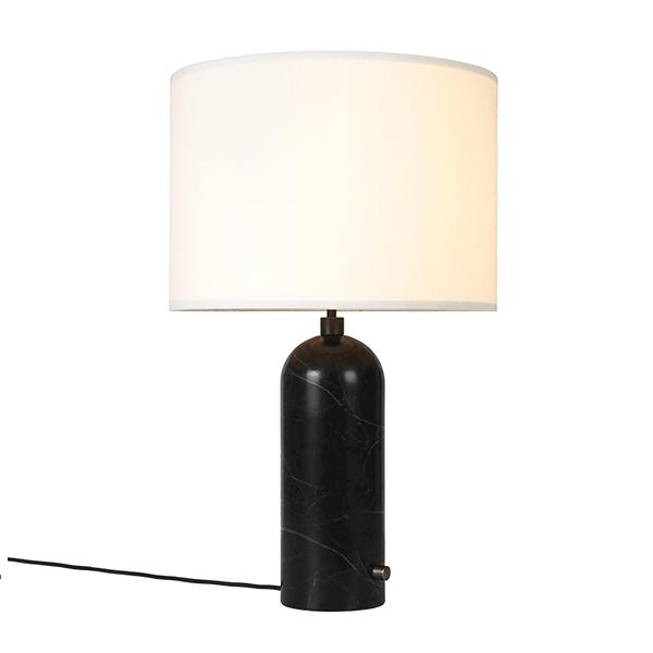 Billede af GUBI Gravity Bordlampe Sort Marmor og Hvid Skærm Stor