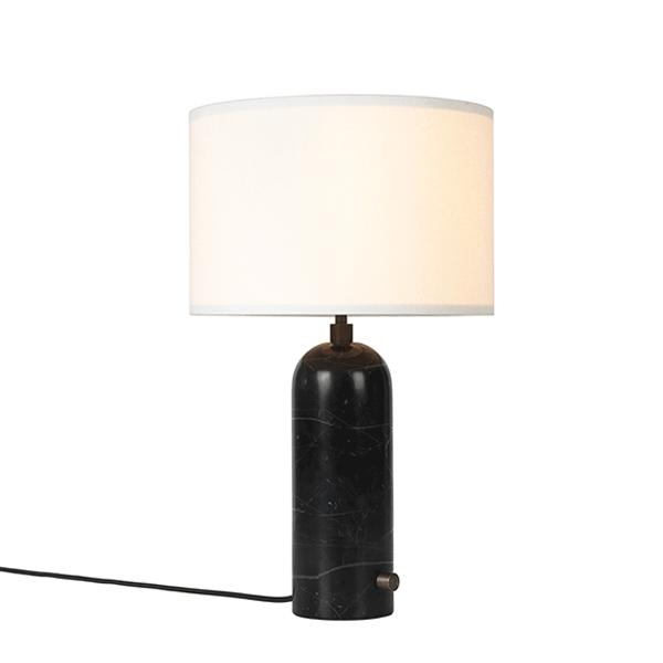 Billede af GUBI Gravity Bordlampe Sort Marmor og Hvid Skærm Lille