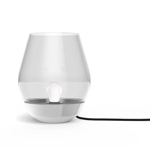 Image of   NEW WORKS Bowl Bordlampe Rustfrit Stål & Røget Glasskærm