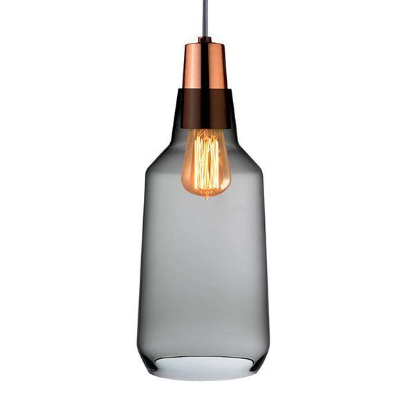 Nude Mono Pendel Røgfarvet Glas Lille