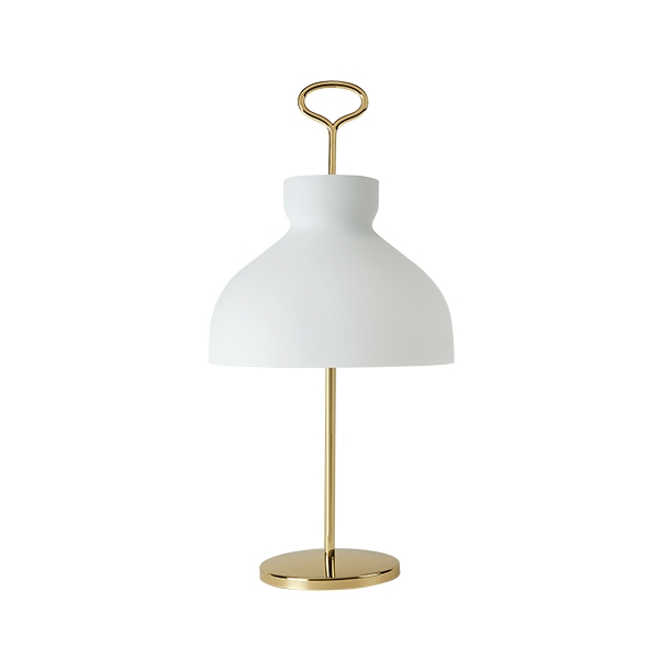 TATO Arenzano Bordlampe Høj Hvid & Messing