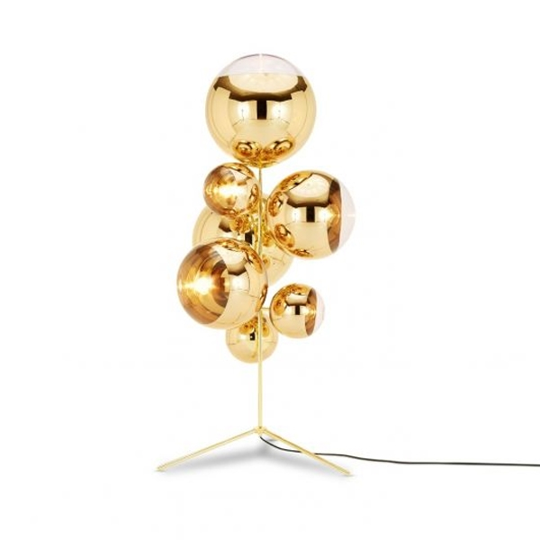 Tom Dixon Mirror Ball Chandelier Gulvlampe Guld